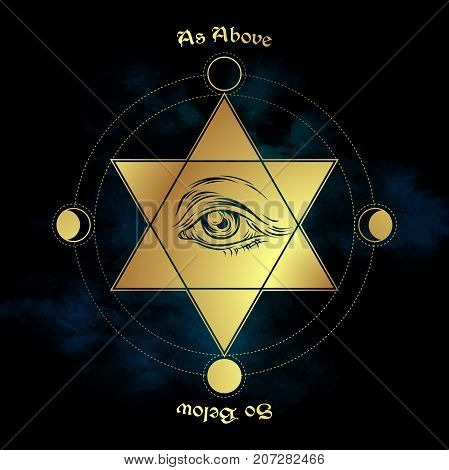 Eye of providence in the center of the hexagram. As above so below - is a maxim in sacred geometry or hermeticism. Hand drawn medieval esoteric style vector illustration.