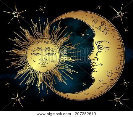 Antique style hand drawn art golden sun crescent moon and stars over blue black sky. Boho chic tattoo design vector illustration