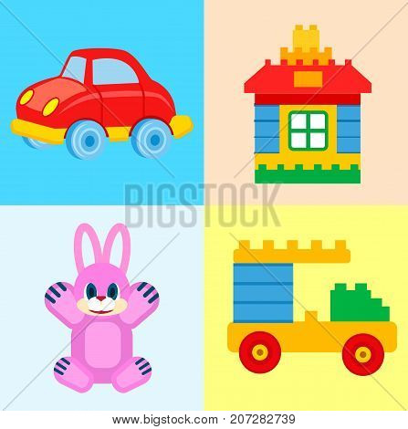 Red car, colorful house and vehicle constructors and friendly pink soft rabbit in colored squares vector illustrations set.