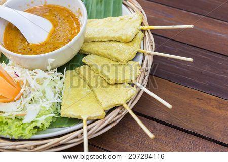 the pork satay food with the sauce.the Thailand street food