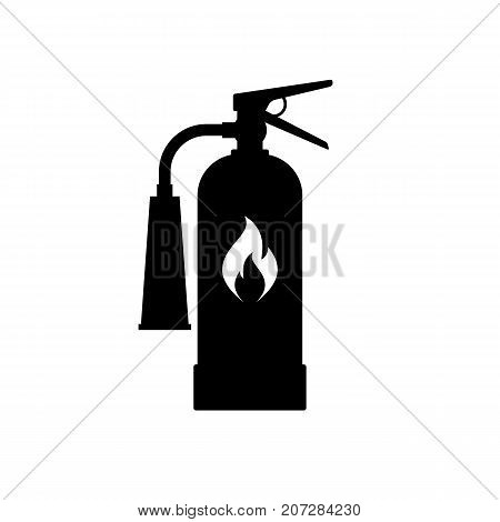 Fire extinguisher icon. Black minimalist icon isolated on white background. Extinguisher simple silhouette. Web site page and mobile app design vector element.
