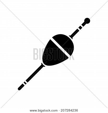 Fishing float icon. Black minimalist icon isolated on white background. Fishing float simple silhouette. Web site page and mobile app design vector element.