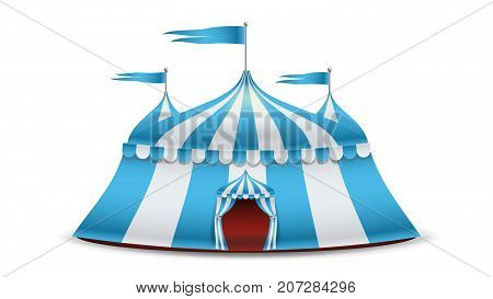 Cartoon Circus Tent Vector. Blue And White Stripes. Funfair, Carnival Holidays Concept
