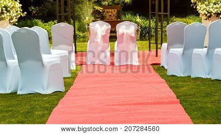 Many wedding chairs with white elegant covers on green grass and long red carpet spouses places in centre. Outdoor shot.
