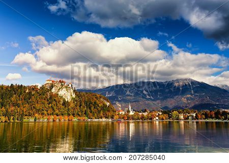 Colorful Autumn Sunny Day On Bled Lake, Slovenia