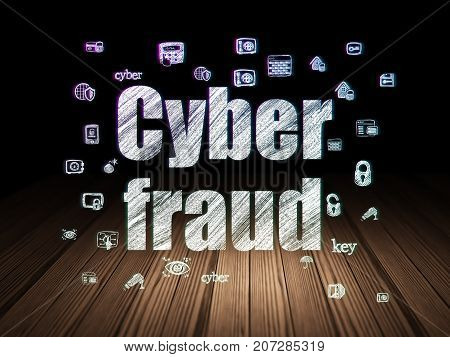 Privacy concept: Glowing text Cyber Fraud,  Hand Drawn Security Icons in grunge dark room with Wooden Floor, black background