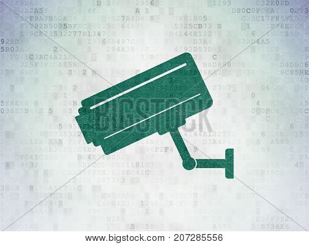 Privacy concept: Painted green Cctv Camera icon on Digital Data Paper background