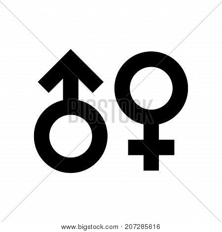 Gender symbol icon. Black minimalist icon isolated on white background. Standard sex symbol simple silhouette. Web site page and mobile app design vector element.