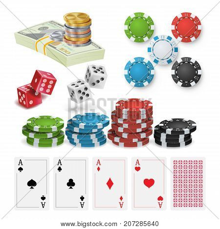 Poker Design Elements Vector. Money Stacks, Chips, Playing Gambling Cards. Royal Casino Retro Poker Club Illustration