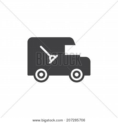 Plumber service automobile icon vector, filled flat sign, solid pictogram isolated on white. Symbol, logo illustration.