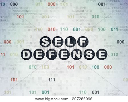 Safety concept: Painted black text Self Defense on Digital Data Paper background with Binary Code