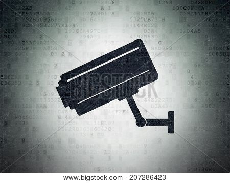 Security concept: Painted black Cctv Camera icon on Digital Data Paper background