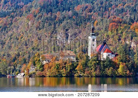 Colorful Autumn Day On Bled Lake, Slovenia