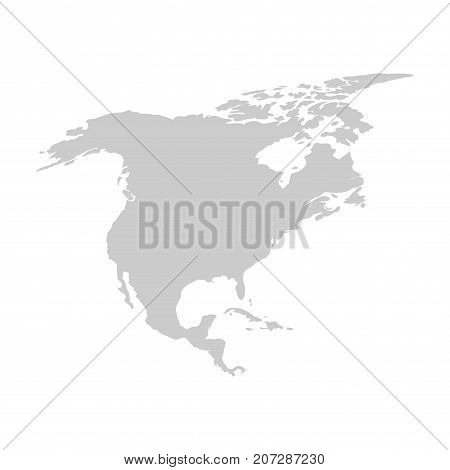 North america continent. Gray vector template for your design and ideas.