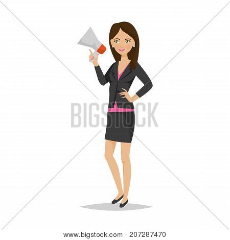 Businesswoman working cartoon character person in office work situations. Girl, an office worker in office clothes, with speaker, conference, bring data, information to audience. Vector illustration.
