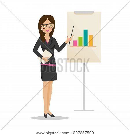 Businesswoman working cartoon character person in office work situations. Young girl, office worker woman in office clothes, conducts presentation, training, business seminar. Vector illustration.