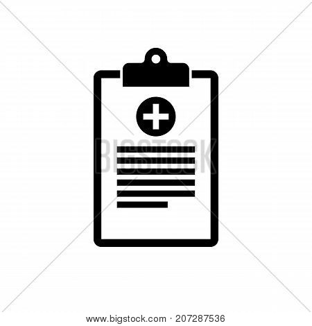 Medical clipboard icon. Black minimalist icon isolated on white background. Clipboard simple silhouette. Web site page and mobile app design vector element.