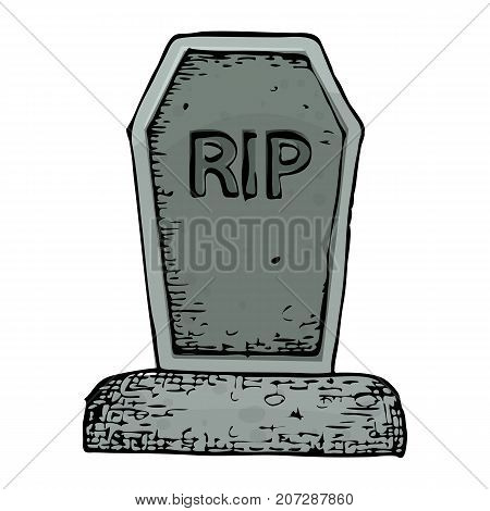 Grave with a tombstone colorful scary Halloween sketch illustration. Vector