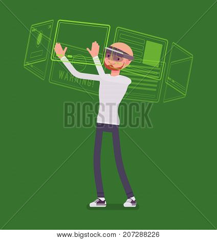 Augmented reality man and virtual interface. View of a physical, real-world environment, interactive and digitally manipulable. AR and entertainment concept. Vector flat style cartoon illustration