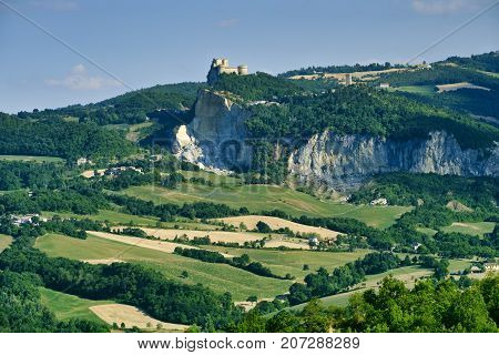 Country landscape in Romagna (Italy) along the road from Sogliano al Rubicone to Secchiano at summer. View of San Leo