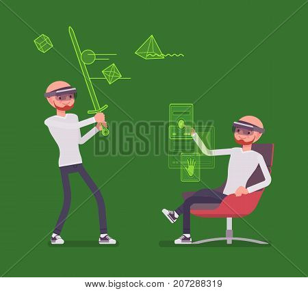 Augmented reality man having battle positive experience. Fun platform for games, real world with virtual objects, holding sword. AR and entertainment concept. Vector flat style cartoon illustration