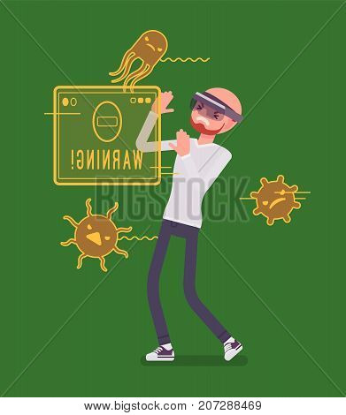 Augmented reality man having negative experience. Virus attack, hit infecting problem. AR and entertainment concept. Vector flat style cartoon illustration