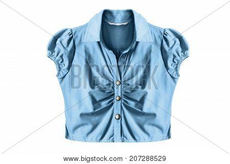 Elegant blue cotton button down blouse on white background