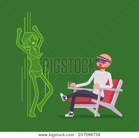 Augmented reality man relaxing with adult content. Sitting and watching sexy bikini woman dancing, realistic and enjoyable time. AR and entertainment concept. Vector flat style cartoon illustration