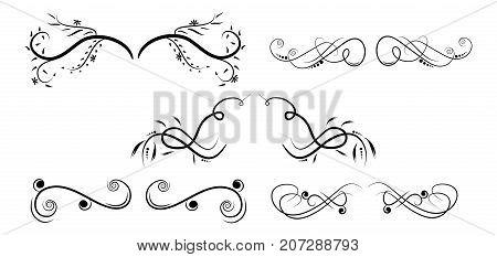 swirl embellishment vector high quality set frames
