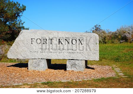 Entrance to Fort Knox State Historic Site in Prospect, Maine, USA.