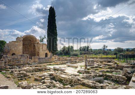 Basilica of Agios Titos with ancient roman ruins, Gortyna, Crete, Greece