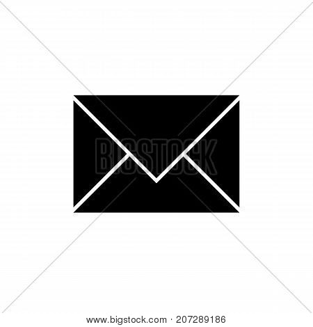 Mail icon. Black icon isolated on white background. Mail silhouette. Simple icon. Web site page and mobile app design vector element.