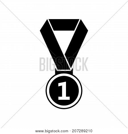 Gold medal icon. Black minimalist icon isolated on white background. Gold medal simple silhouette. Web site page and mobile app design vector element.