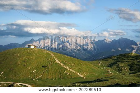 Mountains Landscape Panorama, House in Austria Alps
