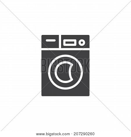 Washer machine icon vector, filled flat sign, solid pictogram isolated on white. Symbol, logo illustration.