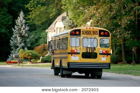 School Bus In Neighborhood