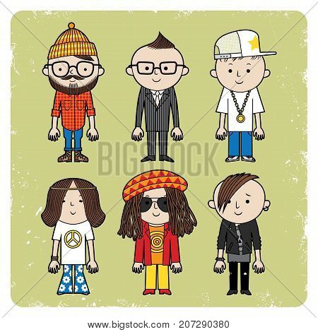 Six men in different clothes. Vector set of different subcultures man.