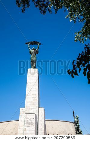 Budapest Hungary - 2017 May 28 : The Liberty or Freedom Statue on the Gellert Hill in Budapest which is a memorial to the memory of those who sacrificed their lives for the independence freedom and prosperity of Hungary