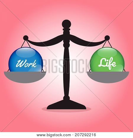 Vector Business Concept As Illustration Of Black Scale Is Weighing Blue Work Crystal Ball On The Left And Green Life Crystal Ball On The Right Equally On Red Background Represent Work Life Balance.