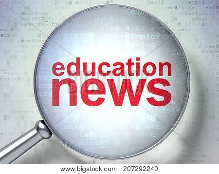 News concept: magnifying optical glass with words Education News on digital background, 3D rendering