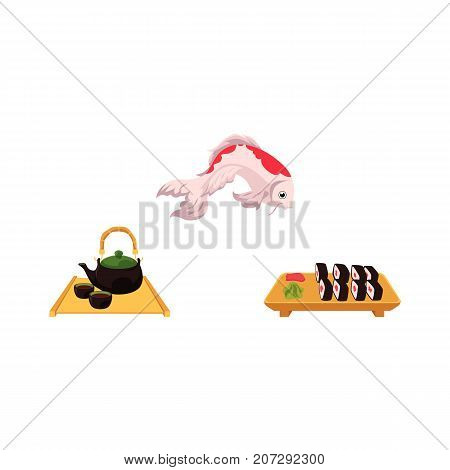 vector flat asian japan, china oriental symbols concept set. traditional koi carp fish, sushi with ginger, wasabi and kettle with caps for tea ceremony. Isolated illustration on a white background.