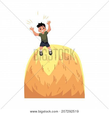 Happy teen boy sitting on top of haystack, hay stack, having fun in summer farm, cartoon vector illustration isolated on white background. Happy boy, kid, child sitting on high haystack, farm summer