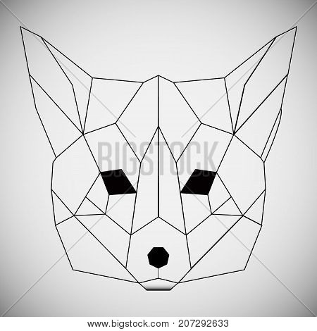 Hand drawn realistic sketch of a fox, isolated on white background. Vector monochrome sketch. Sketch for tattoos