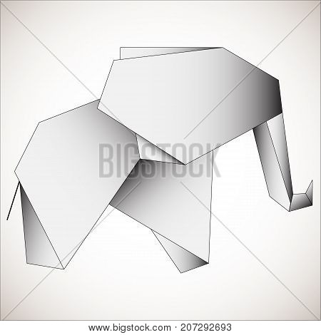 Polygonal outline elephant on gray background. Elephant stylized triangle polygonal model. Suitable for modern tattoo polygonal templates, icons or logo elements