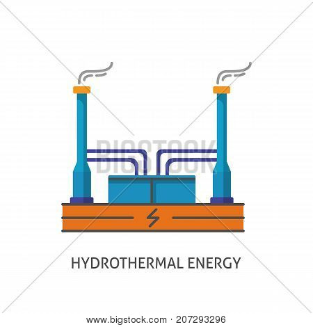 Geothermal power plant icon isolated on white background. Alternative renewable energy concept symbol in flat style.