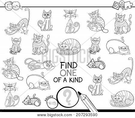 Find One Of A Kind Game With Cats Coloring Book