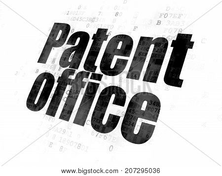 Law concept: Pixelated black text Patent Office on Digital background