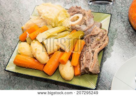 beef stew and vegetable a pot au feu