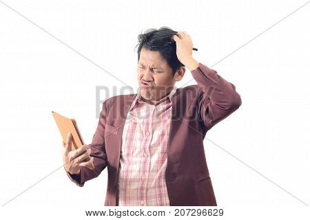 Crazy Businessman Holding Tablet In Silly Emotion Isolate On White Background