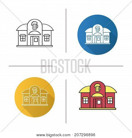 Pub icon. Flat design, linear and color styles. Alehouse. Isolated vector illustrations